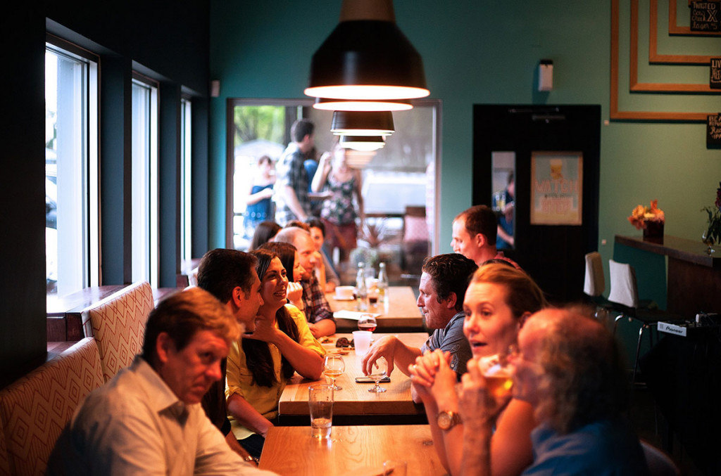 group of people in a restaurant