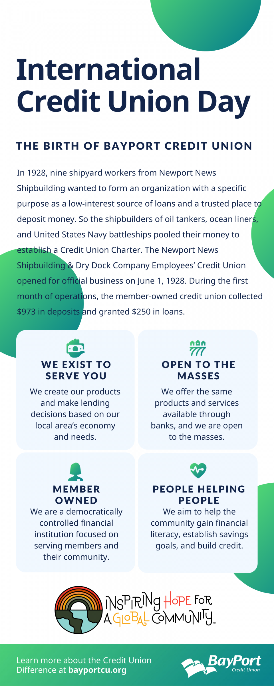 The Birth of BayPort Credit Union Infographic