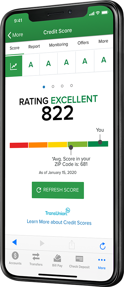 Credit Score on mobile banking app
