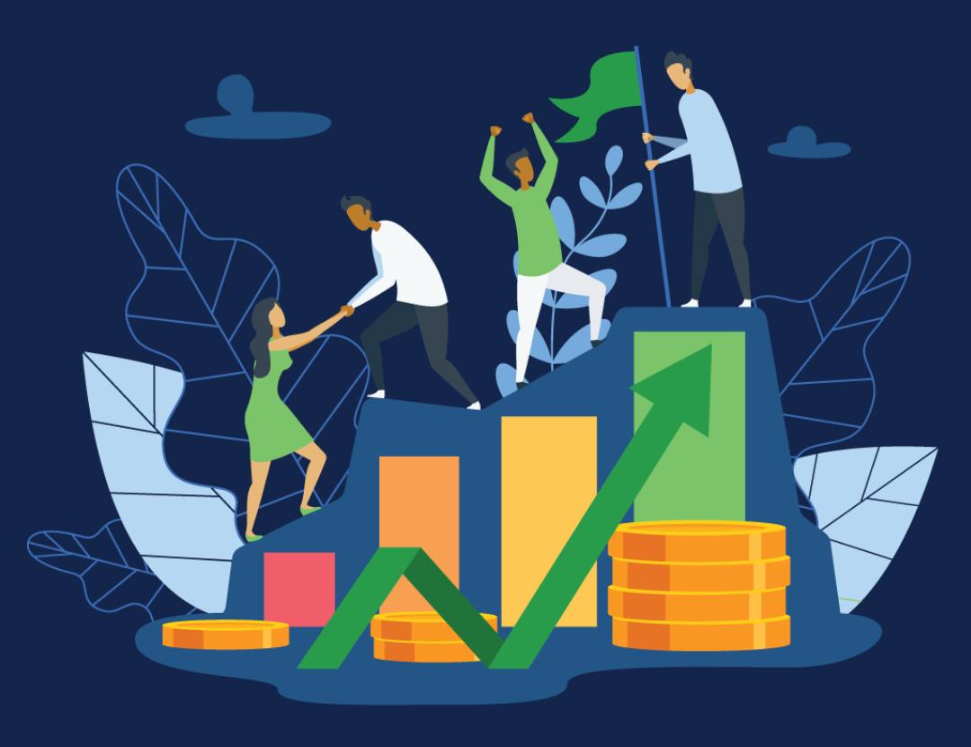 people climbing rising credit score graph